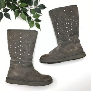 Ugg Rockstar Studded Zipped Suede Shearling Boots
